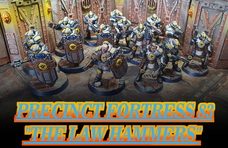 Finally got round to taking pictures of my Enforcer Squad, the Law Hammers. I like the original colour scheme but the dark armour made the enforcers feel more like secret police rather than average law enforcement. I decided to paint them in a much brighter lighter tone to give the impression that these are the