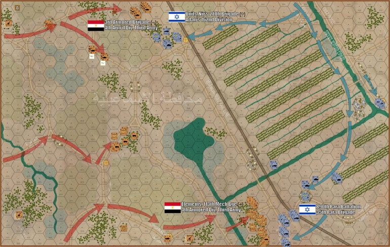 """Turns 01 and 02 are now complete.  Already Damon has a bit of an upper hand, having seized three of the five objective hexes:  (1) the crossroad by the rail line, (2) the Test Road exit to the far east, (3) and the Port Suez Exit to the southeast.  I lunged at him in the north with my two battalions of armor, I've taken a 20-tank salvo at him in those palm groves but missed with a """"6"""" (worst roll in Arab-Israeli Wars).  I've started to flank him, however, while in the south my mech battalion has rolled up in their BTR-60s and is now unloaded en masse for an attack against that Port Suez road objective."""