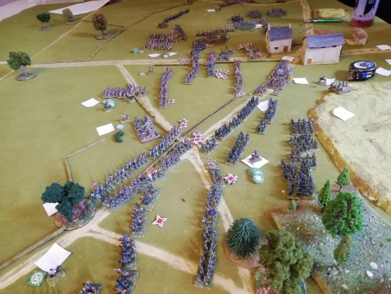 The final line of French wracked by cannister shot and close but not close enough to bthe crossroads. Ney orders his forces back as they leave the field to regroup with the Emperor. Wellington heads up the Brussels road to find va good defensive position to wait for the Prussians. It was a close game that worked out as a draw in points butca moral victory for the British who still held the crossroads. First time playing the Absolute emperor rules. Both players got to grips with the system and the rules make sense with the period. I hope to do some smaller games in the future