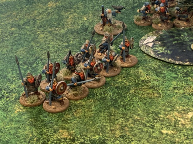 A ten dwarf warrior unit backed up by the wizard and next to a unit of archers.