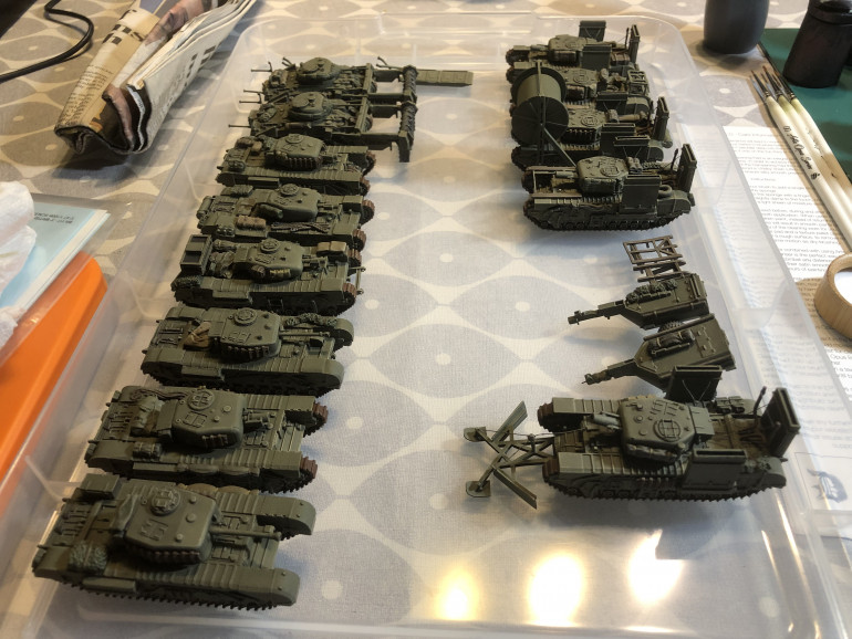 Here are all the vehicles and ancillaries completed after this phase. Next up is applying the decals.