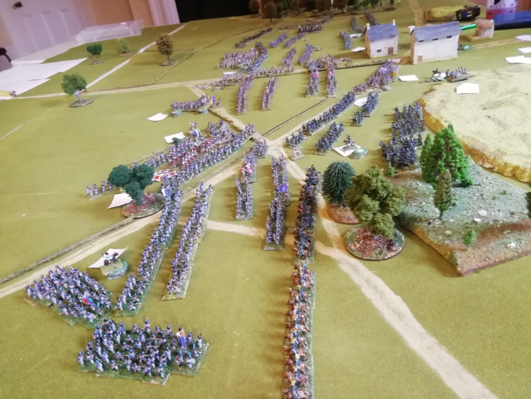The British right hit back seeing off a French column and two more quickly break leaving gaps in the French right