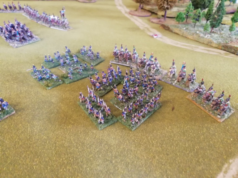 French cavalry sweep down on the British right but the hannoverian militia form square just in time