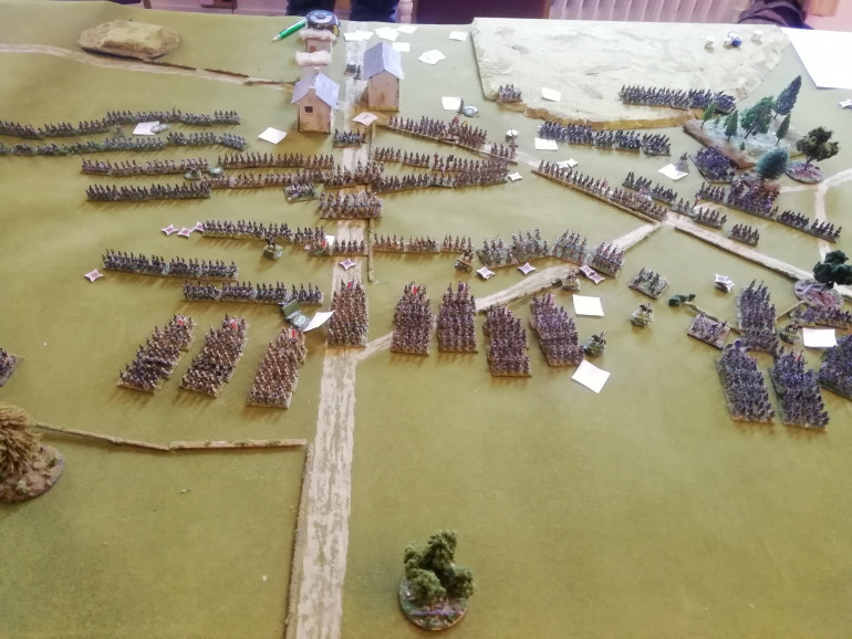 The approaching French begin to near and the allies decide attack is the best form of defence and deploy to meet them. Artillery from both sides soften up the opposing sides.