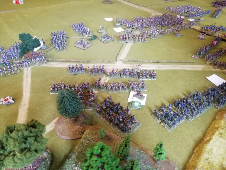 A firefight sees the Highlanders follow the 95 off the table as the Brunswickers hurry to fill the gaps before the French role up the British left