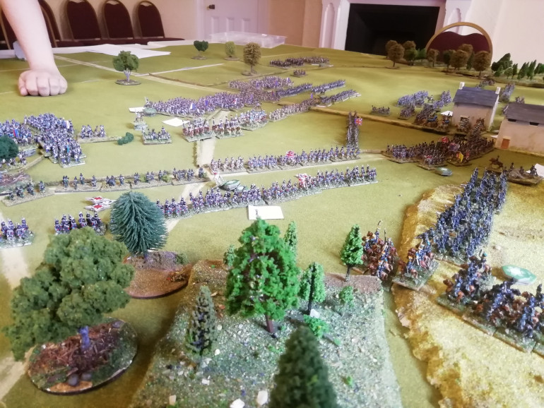 After seeing off the cavalry the British get back into line as the French infantry close in
