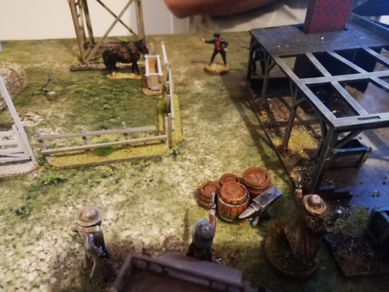 Other vigilantes flank the gang and tackle a thug. Undeterred the outlaws once again blast away killing another one of their own and leaving the lawmen unscathed
