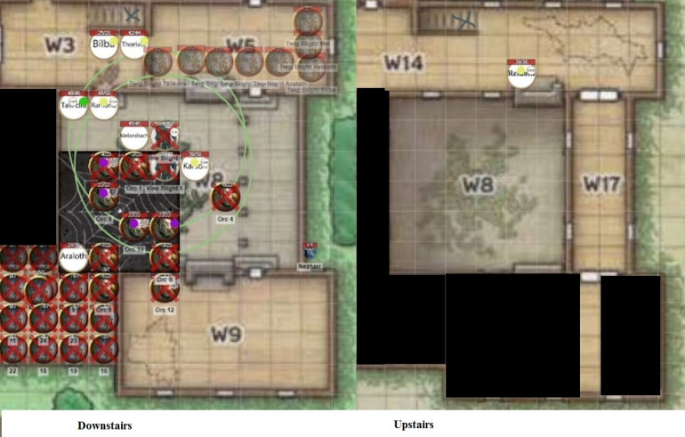 End of Turn 7 (Faded stuff isn't visible to the party)