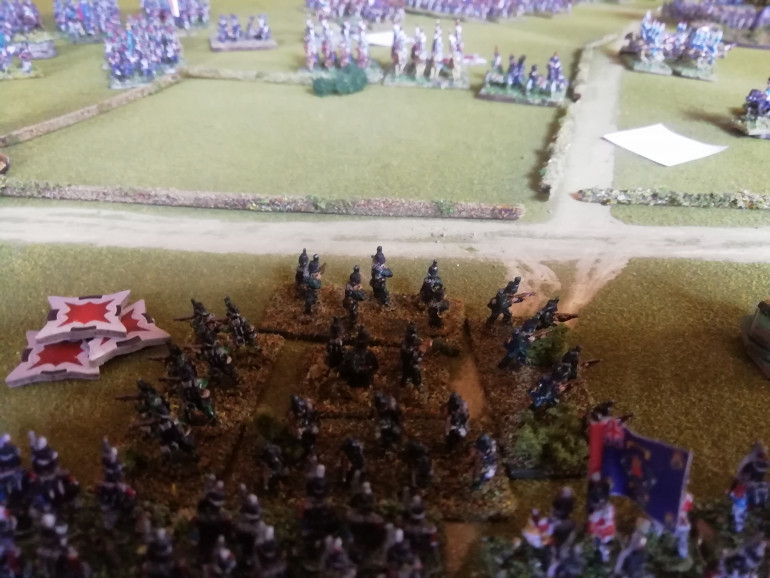 French lancers vault the hedge and attack the 95th but the green jackets quickly form square.unable to break them the lancers withdraw to their own lines.