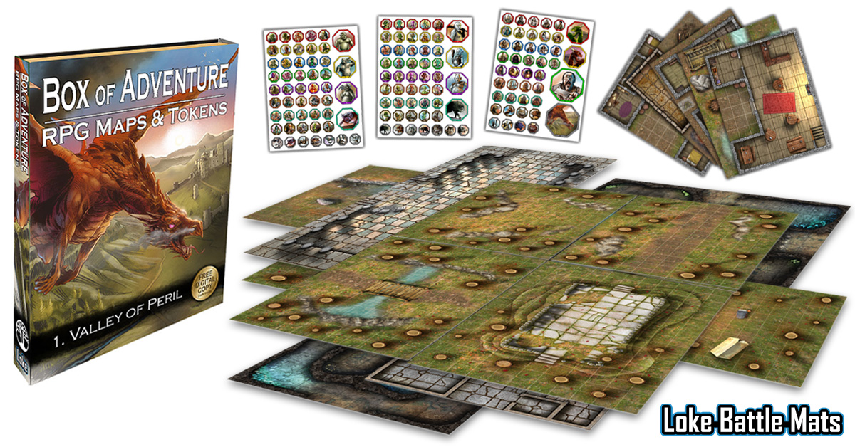 Box Of Adventure Valley Of Peril Contents - Loke BattleMats