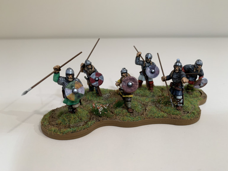 Saxon warriors. Four Gripping Beast figures and two Footsore.