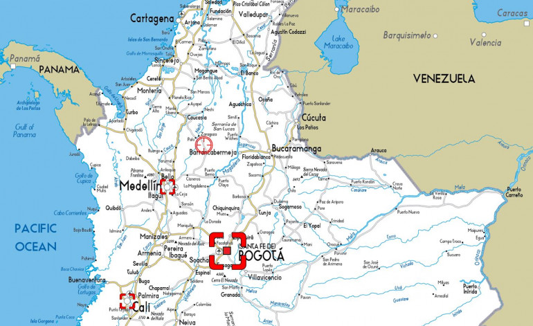 The main foci of the 1980s-1990s phase of the Colombian Drug War.  All factions were heavily active in the country's capital Bogata, while the Medellin and the Cali Cartels were the most powerful narco factions at the time.  Other factions include the Colombian government, the United States, smaller cartel factions, ultra-right wing paramilitaries like the AUC, and remnants of Marxist groups like FARC.  Yeah, it's a free-for-all.