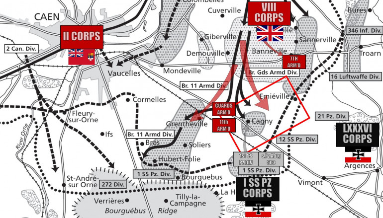 Okay, so here is the background area for today's battle - a small flanking action connection to Operation Goodwood, the 77th Anniversary takes place today (July 18, 1944).  The red rectangle shows the 3600-meter scaled battlefield contained in our game (24 hex board, 150 meters per hex).
