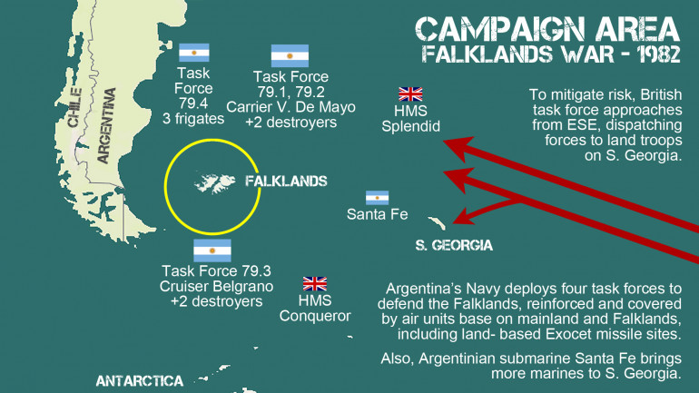Campaign area for the Falklands War, immediately before the onset of