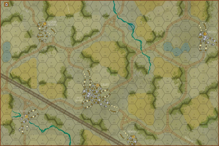 Here is the map for our game.  Again, 150 meter hexes (about 5 feet in 15mm).  British (predominantly elements of 11th Armored Division) will be coming on from the north.  Germans (1st SS