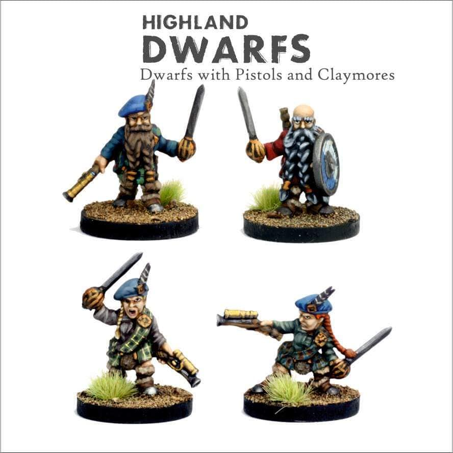 Highland Dwarfs With Pistols & Claymores - Bifrost Miniatures
