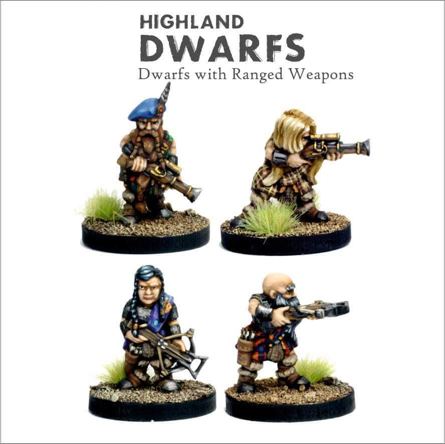 Highland Dwarfs With Ranged Weapons - Bifrost Miniatures