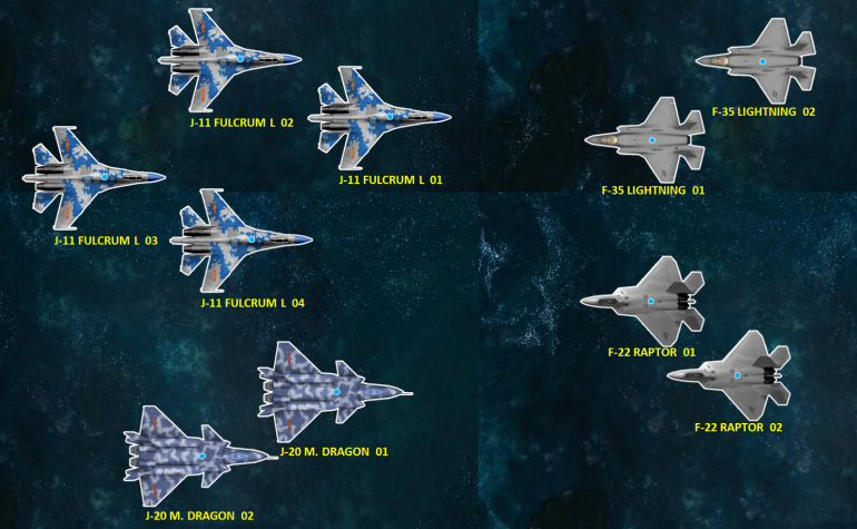 The combatants for today's game.  The Chinese certainly have an edge in numbers, but those J-11s are not fifth-generation stealth-capable craft like the J-20s, the F-22s, or the F-35s.