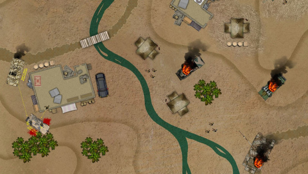 A tactical map, where a firefight is playing out.  Jenn, playing a vehicle expert formerly from South African special tactics and rescue police, has just run over two ISIS terrorists in her JTLV.