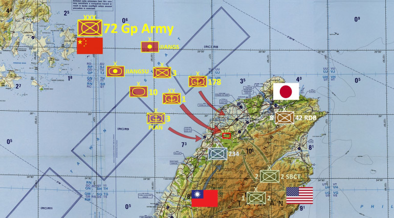 Here is the scenario, at least on the northern coast of Taiwan.  The Chinese are Taiwanese forces involved are actual units that would almost certainly participate in a propsective conflict like the one we are imagining.  The US Forces are also real, 2nd Striker Brigade Combat Team / 2nd US Infantry would almost certainly be involved (2nd US Infantry is earmarked for defense of South Korea), the deployment of 2nd Armored Brigade Combat Team / 1st US Infantry (Mechanized) is a little more speculative.  Most speculative is the Japanese 42nd Rapid Deployment Brigade / 8th Division.  As an RDB deployed in the southernmost part of Japan, it's a solid guess ... but Japanese troops deployed into other nations presents significant Constitutional issues for the Japanese government.