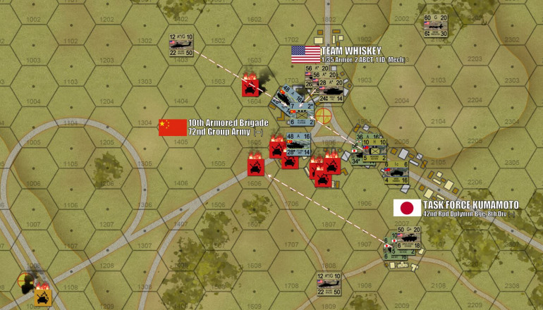 To the north, meanwhile, the Chinese advance largely collapses.  Pointblank American and Japanese tank fire (120mm and 105mm from that Japanese MCV platoon) shatter most of what's left of 10th PLA Armored's tanks.  Furthermore, these allied forces are soon gearing up for a counter-advance to the southwest to retake that highway overpass objective in the lower left corner.  While this didn't work out well for the Chinese at all, it showcases how the Panzer Leader system can really capture the essence of fire superiority.  To be honest, as the Chinese player, I should have run two turns ago, and at least mouthed a decent defense from those tree lines to the southwest.  There are only two full platoons of Abrams tanks on the table, I came DAMNED close to taking one of them out.  But with most of my tank force now wrecked, I stand virtually no chance of slowing them down.