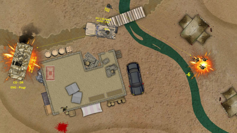 That BMP-2 just missed us, but Jenn spun us around the building (taking loads of fire along the way) We're both wounded, but I'm out with my M4 assault carbine and grenade launcher to at least pin down those incoming insurgents, while she clambers into the turret of the JTLV and puts a 20mm burst in to the back of the BMP-2.  That BMP is damaged ... but not out by any means ...