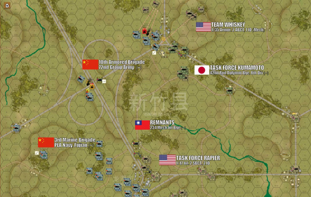 """The battle jumps off on Turn One with neither side wasting any time.  People's Liberation Army tanks (ZTZ-99As of 10th Armored Brigade) swiftly overrun the first Taiwanese objective at the highway interchange (""""Cloud Leopard"""" APCs and infantry).  One tank platoon is disordered in the attack, but they will swiftly recover.  To the south, Chinese Marines of the People's Liberation Army Navy (PLAN) swing around the left flank of the Taiwanese 234th Mech Brigade, setting up for one hell of an infantry assault into the town of Lung Tan itself.  American and Japanese forces arrive minutes later, and when Damon's communications officer ask the beleaguered Taiwanese who is in command, the frantic reply comes back: """"You are!""""  American Predator drones and tanks of Team Whiskey (1/35th Armor, 2nd Armored Brigade Combat Team, 1st Infantry Division Mechanized), swing north around the PLA 10th Armored threatening the northern objective hex, AH-64D Apaches using their chain guns to chew up some Type 89A APCs with their infantry still aboard.  The Predator drones sling out their Hellfire missiles, but a combination of Chinese cover, laminate armor, and bad luck saves the Chinese for now."""