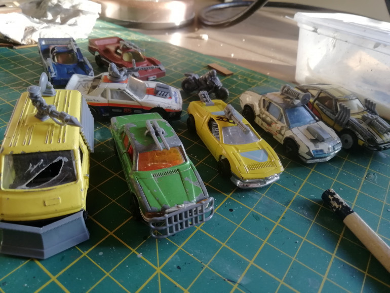 Pile of new old cars donated by a friend. Added some gaslands weapons