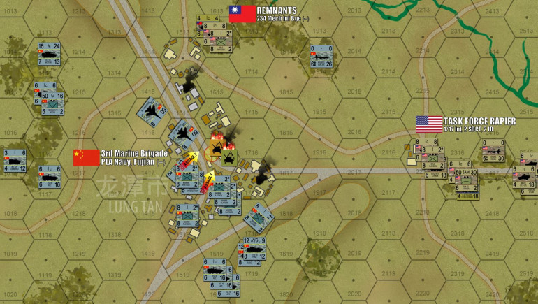 In the south, however, Chinese Marines split the allied position wide open.  A pair of J-16 Flanker strike aircraft scream in, and despite one being damaged by a near miss from an American Stinger team, American and Taiwanese forces are pinned down as a massive PLAN infantry close assault comes in.  The issue is never in doubt.  Platoons of Taiwanese Cloud Leopard APCs and American MGS Strykers are lost, along with most of the 234th Brigade's infantry.  The Chinese have firmly taken Lung Tan, and a second objective hex.  Taiwanese survivors withdraw to the northeast, Americans fall back straight down that eastern highway.