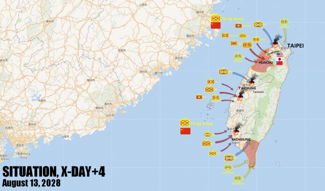 An expanded and more detailed overview of our hypothetical war, showing the situation on Day 5 of the imagined invasion.  We certainly hope this kind of war never actually takes place, but (God forbid) if it did, these really are some of the units that would almost certainly be involved.  Note the initial airborne drops (blue) have mostly failed, per design.  These were diversions to spring Allied reponses prematurely, the real assaults were Army and Navy/Marine landings in red.  Supporting landings are shown in yellow.  Again, even most of THESE have failed, but two lodgements have been secured by invading PLA/PLAN forces.
