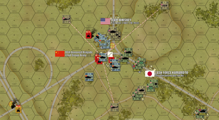 In the north, the PLA 10th Armored quickly finds itself in real trouble.  As their powerful ZTZ-99A tanks keep getting pinned down, they can never really release a coordinated, close-range gunnery salvo against the Americans and Japanese bearing down on their front and right wing.  Apaches start slinging out Hellfire missiles, picking them off, once they are spotted by Predator drones (even after the Predator Drones have fired their missiles, they remain valuable as spotting and targeting tools).  It's an uneven cycle of fire superiority, with the Chinese tanks always just 30 seconds behind their opponents, taking losses that leave them pinned down, unable to return effective fire, and unable to even withdraw safely under this crossfire of American and Japanese shells and missiles (TOWs, Hellfires, infantry AT weapons, and 120mm sabot rounds).