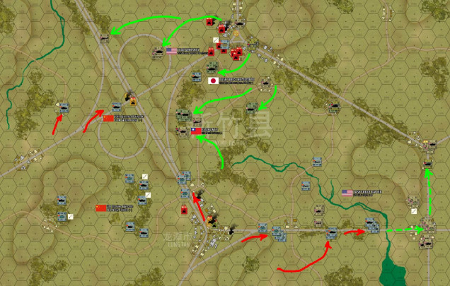 So here is the situation at the end of Turn 5, the halfway point of the game.  Long story short, the Allies are winning in the north, losing to the south.  Given the overall balance of what is left, I'm pretty sure the Allies will win this one, taking the highway overpass objective.  I will probably hold Lung Tan to the south and maybe take that smaller road junction and ton to the southeast, leaving me with two objective hexes, and Damon with three.  We'll see what happens in today's stream as we finish out this battle.