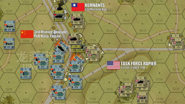"""In the south, the Chinese commit to their assault into Lung Tan.  Their ASN-205 drones spot Taiwanese and newly-arrived American units of """"Task Force Rapier"""" (1/17th Infantry, 2nd Stryker Brigade Combat Team, 2nd Infantry Division).  The Chinese 3rd Marine Brigade then move their Type 05 amphibious APCs into the streets of the town, perhaps getting too close to American and Taiwanese guns, but the alternative is to leave their two heavy urban hexes open for t he American to occupy.  Rather than pay for such costly hexes twice, the Chinese get aggressive.  The risk largely pays off, they only suffer two APC platoons disordered, and now some 350 Chinese PLAN Marines are within assault range of the defenders of Lung Tan."""