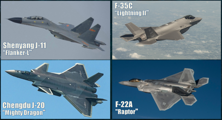 The four types of aircraft that will feature in today's game.  There are widely-varying levels of capability here, and each of these types have their own strengths and weaknesses.  Well, except those poor J-11s... they're based on a 30-year old former Soviet design, but trust me ... given the updated missiles they carry, they still pack a deadly little punch.