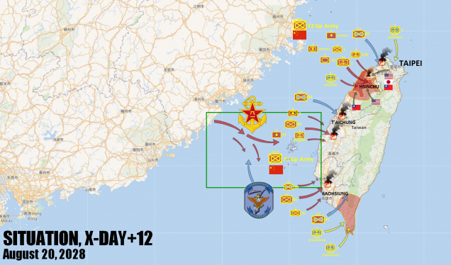 The situation at the end of our fictional campaign.  While the Chinese Air Force has held its own over the southern reaches of the Taiwan Strait, ground victories by the US and her Western Pacific Allies have pretty much collapsed the Chinese bridgehead on northern Taiwan.  The Chinese are sending across a massive landing force to reinforce their southern bridgehead, which they hope can hold on long enough to force a favorable peace terms.