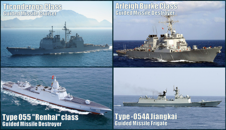 The four classes of surface warship that will appear in today's game.  Of course, both sides will have one carrier off table as well, the USS Ronald Reagan (CVN-76, flagship US 7th Fleet) and PLN Shandong (Type 002 class carrier)
