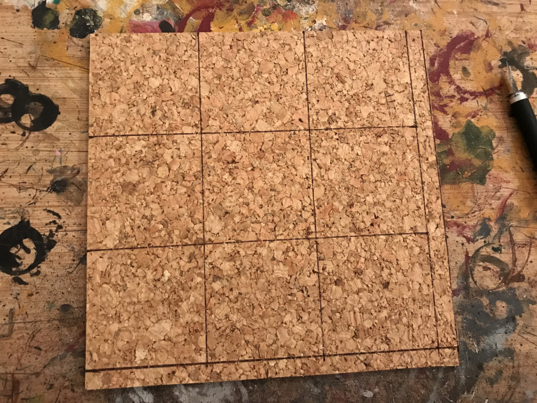 Using cork tiles i worked out the basic size i would need.