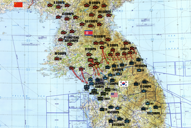 Work continues on today's game of Battle Carry Sabot.  First, the general disposition of real-life forces (not including reservists) for the ROK, DPRK, USA, and USMC in the Korean Peninsula.  Some of this is a little incomplete.  Unsurprisingly, reliable data on real-life North Korean forces and where they are deployed is a little tough to get on short notice.  One key unit is the KPA 105th Guards Armored Division.  Notice where they have broken across the DMZ through a gap where there are no major rivers along the Intra-Korean Border.  I have this picked as kind of a