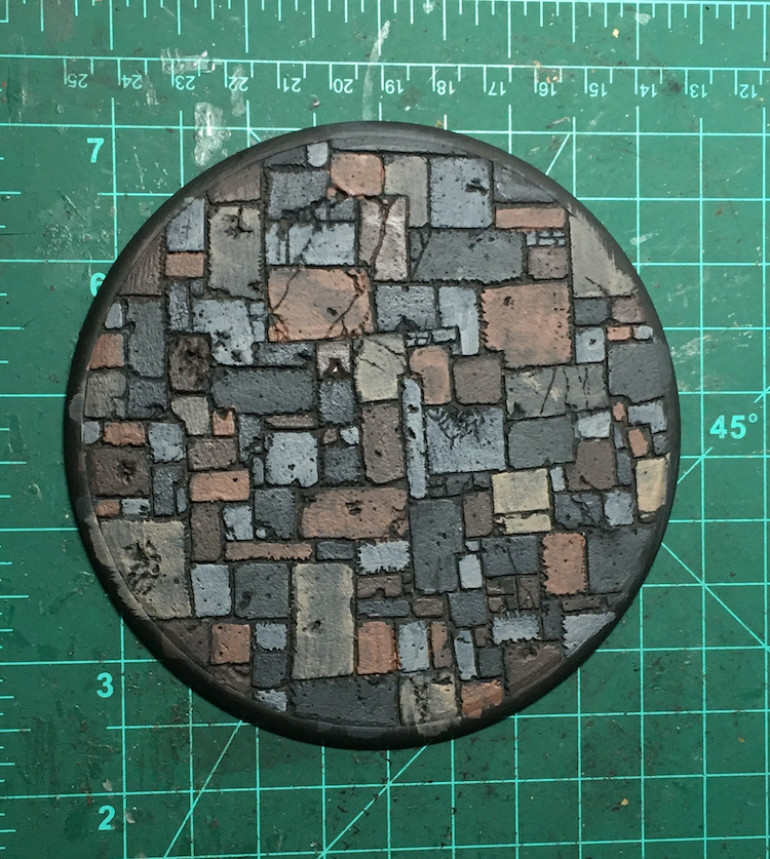 I went with a simple paint job, just choosing three earth tones to paint all of the flagstones.