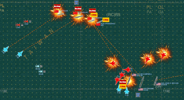 Turn 3 is really rough for me.  While I damned near sink the Arleigh Burke class destroyer McCampbell, my fleet is devastated by returning American Harpoon SSMs and the arrival of the F-35Cs from the USS Reagan.  I engage two of her F-35Cs with ALL SIX of my J-15s, but two are shot down by American SM-2 SAMs and another is shot down as I LOOSE THE DOGFIGHT against the F-35Cs which costs me ANOTHER J-15.  So it looks pretty bad for the Chinese now ... but one American ship is now out of action and NOT A SINGLE HIT has been scored against that transport fleet (I get victory points for each transport that survives ... and there are six of them).  So this game isn't QUITE over yet ...