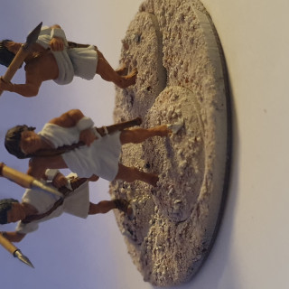Peltasts, Slingers and archers with cool hats, some blocking in colour and doing hair