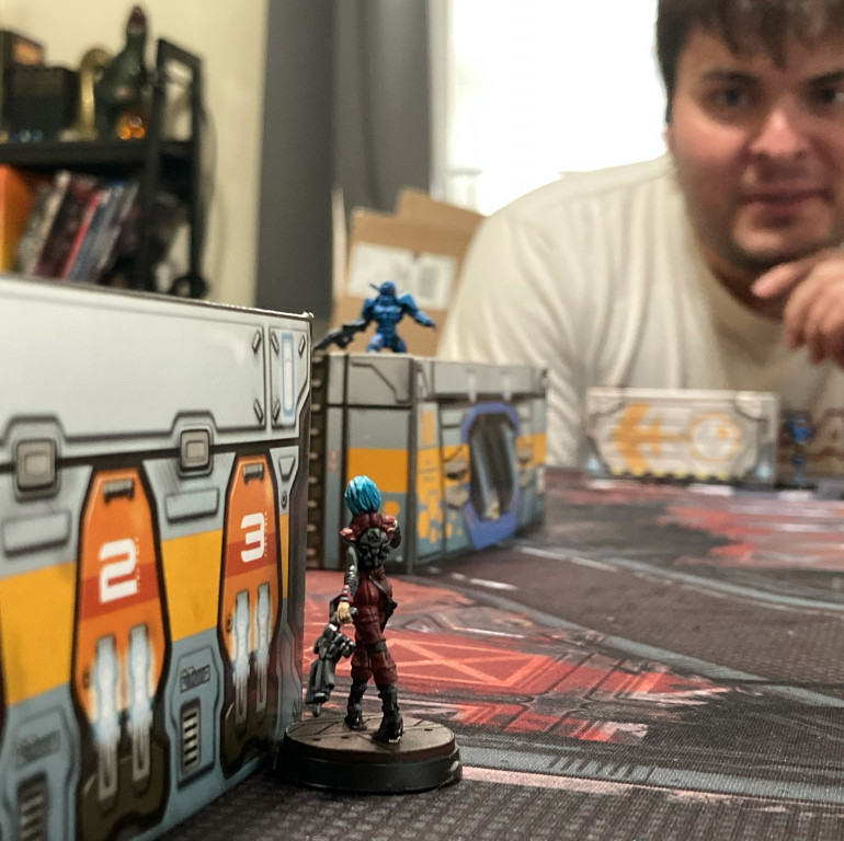 Can my Alguacile drop my opponent's Orc troop lieutenant with an ARO? I think she can! (and yes she did—meaning I lost on points after his distant Fusilier took her out with his next order…but not by as much. And how much fun is it to for any troop to have a chance for an heroic day in the corps?)
