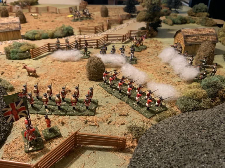Here we see the British right wing, which the Patriots are trying to turn with concentrated rifle (sharpshooters) fire.  The range is getting close, perhaps close enough for the British to turn with a bayonet charge.