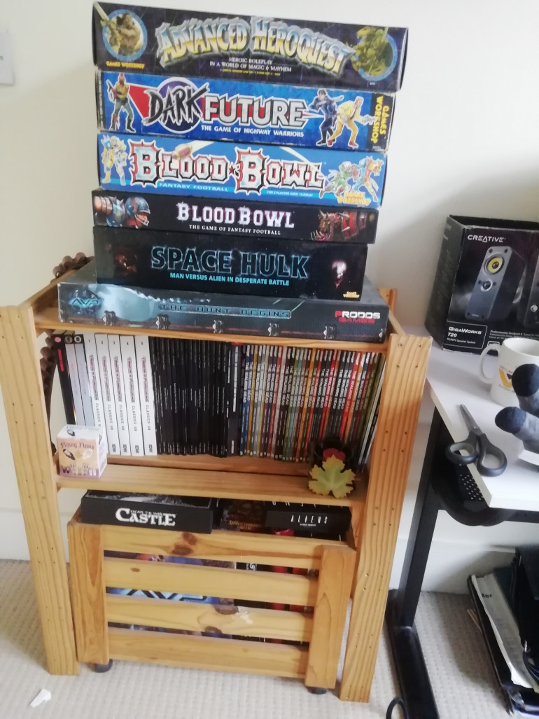 As we sorted out the spare room the wife asked if any of this can go in the garage (den) but I argued that boxed games and books might go mouldy if I don't deal the place first. So my fighting fantasy collection and oldhammer games and westend games starwars will have to stay in the house