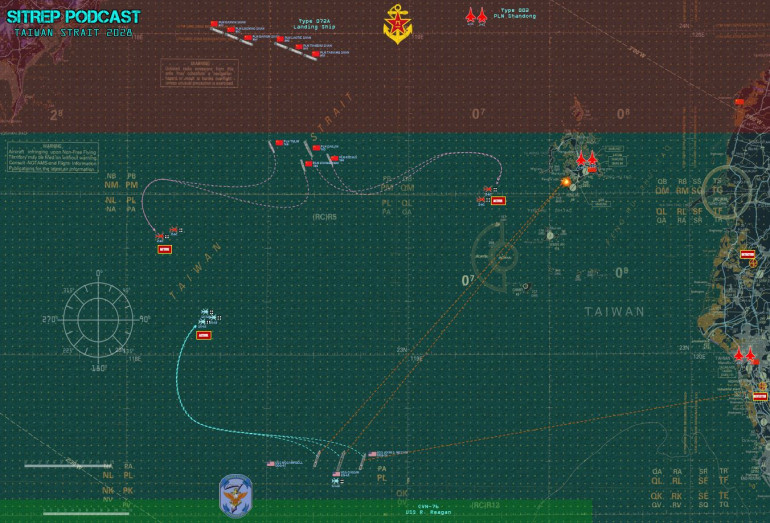 The initial set up areas, the whole map, opening moves and helicopter launches, detection phases, and missile launches.  Both sides get good news and bad news on Turn 01.  Jenn's Americans detect all my ground-based missile bases, launched Tomahawks cruise missiles, and destroyed one base outright before it can even fire.  Meanwhile, my aircraft activate, and six J-15 (SU-30 naval variants) are coming in hot next attack phase.  Her F-35Cs do NOT.  So I will own the sky for at least one turn ...