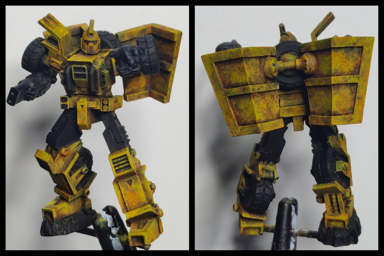 Dumptruck progress shot at the end of the weekend. I used Vallejo model black to block in Al non yellow areas again to help show me how the yellow is progressing.