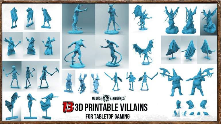 13x 3D PRINTABLE VILLAINS For TABLETOP GAMING 28/32mm Minis