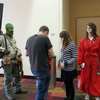Cosplay participants are lining up