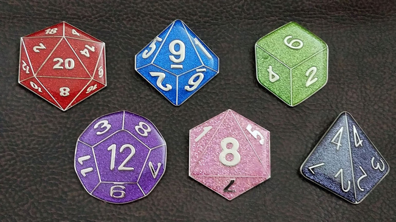 RPG Dice Enamel Lapel Pins & Magnet Sets for Gamers
